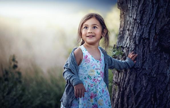 Картинка радость, дерево, девочка, боке