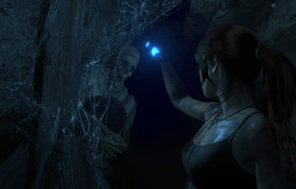 Картинка Паутина, Пещера, Скелет, Lara Croft, Rise Of The Tomb Raider
