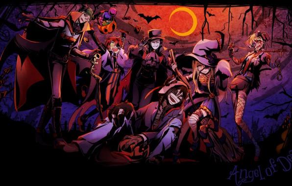 Картинка хеллоуин, Ангел кровопролития, Satsuriku no Tenshi, персонади