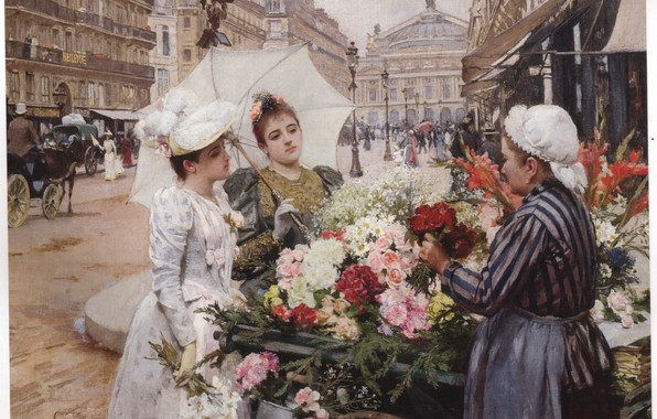 Картинка цветы, продавщица, de SCHRYVER, две женщины с зонтиком