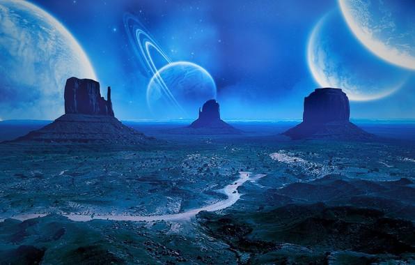 Картинка дорога, космос, звезды, ночь, степь, планеты, space, road, night, stars, planets, фантастический пейзаж, steppe, fantastic …