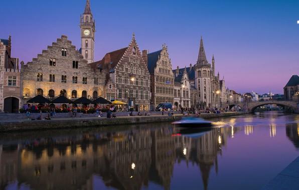 Картинка ночь, река, дома, катер, Бельгия, Гент