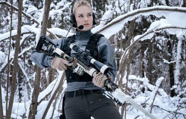 Картинка Девушка, Зимний Лес, Снайперская винтовка Лобаева, ДВЛ-10 «Урбана»