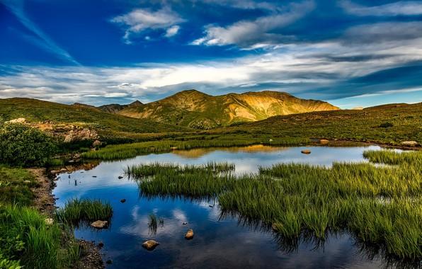 Картинка небо, трава, облака, горы, водоем