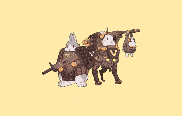 Картинка Art, Robot, Weapon, Minimalism, Characters, Bunny, Rabbits, Mecha, Bunnies, Transport & Vehicles, Ren Wei Pan, ...