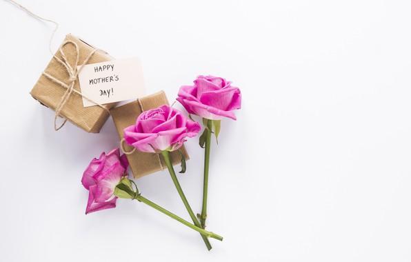 Картинка цветы, подарок, розы, букет, розовые, happy, pink, flowers, roses, gift box, mother's day