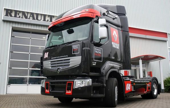 Картинка чёрный, грузовик, Renault, тягач, Renault Trucks, Premium Optiracer