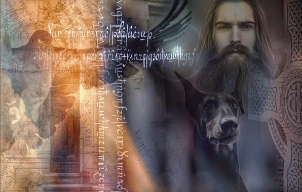 Картинка коллаж, собака, арт, мужчина, доберман