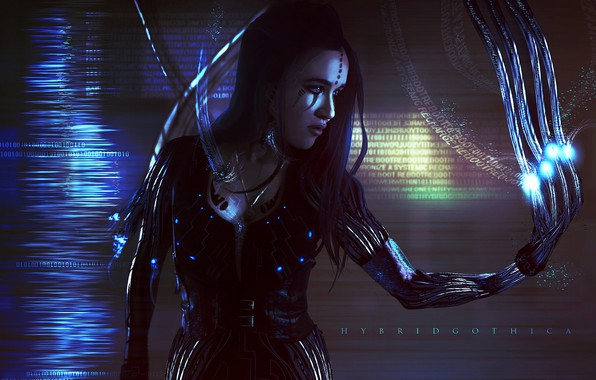Картинка Девушка, Провода, Girl, Fantasy, Арт, Art, Фантастика, Киборг, Science Fiction, Science fiction, Cyberpunk, Tansie Stephens, …