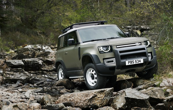 Картинка Land Rover, snow, Defender, Land Rover Defender, Land Rover Defender 90 D240 SE, 90 D240 …