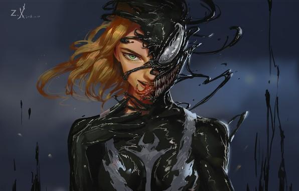 Картинка Девушка, Язык, Зубы, Art, Comics, MARVEL, Concept Art, Веном, Venom, Symbiote, MARVEL Comics, Comic Art, …