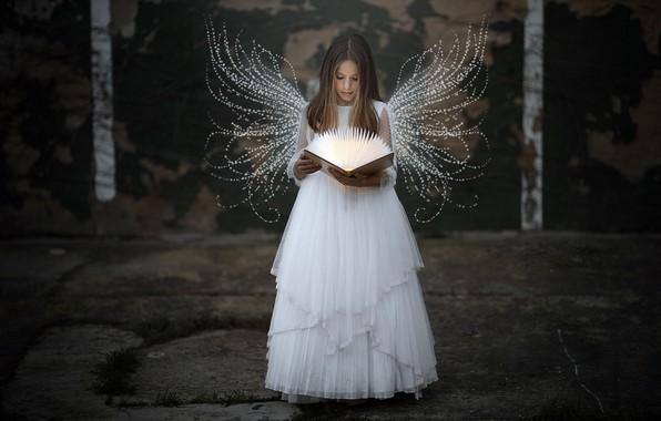 Картинка ангел, девочка, книга