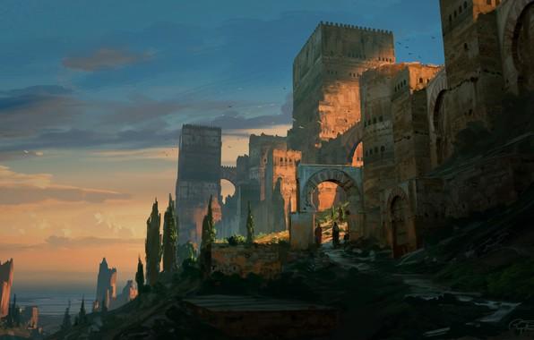 Картинка fantasy, trees, landscape, walls, people, castle, artist, digital art, artwork, fantasy art, towers, illustration, Raphael …