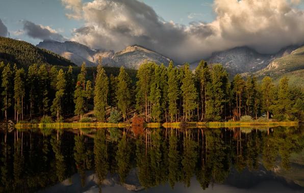 Картинка лес, вода, солнце, облака, деревья, горы, озеро, отражение, скалы, Колорадо, США, Rocky Mountain National Park