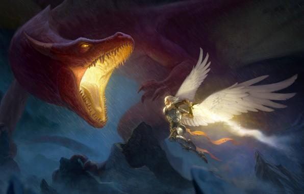Картинка скалы, дракон, крылья, ангел, фэнтези, арт, нападение, мужчина