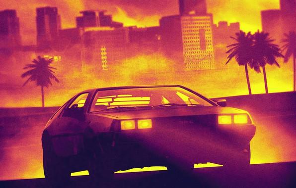 Картинка Авто, Музыка, Машина, Стиль, City, Треугольник, DeLorean DMC-12, 80s, Style, DeLorean, DMC-12, DMC, Electronic, Illustration, …