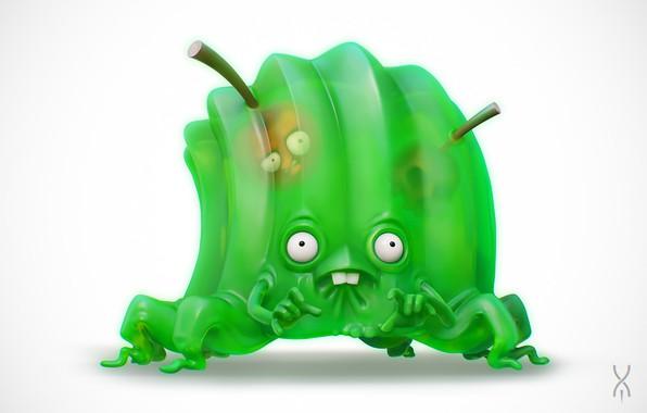 Картинка монстр, арт, вишенка, желе, Yan Morala, Jelly Monster