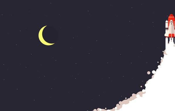 Картинка moon, minimalism, stars, digital art, artwork, rocket, Space Shuttle