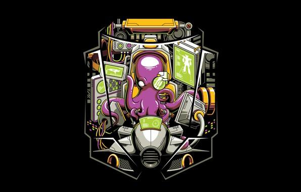 Картинка Art, Vector, Background, Illustration, Octopus, Minimalism, Cabin, Mecha, Angga Tantama, The Pilot