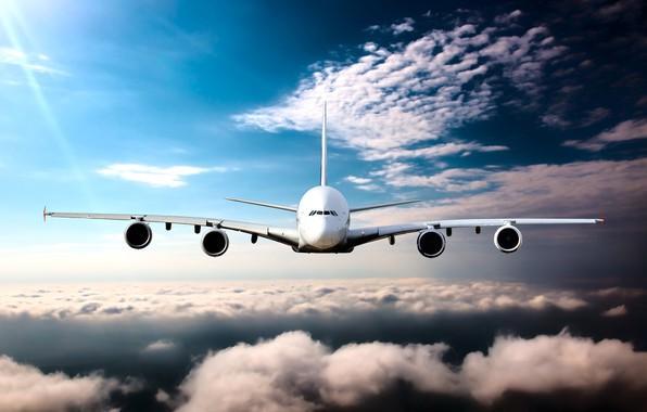 Картинка небо, солнце, облака, высота, горизонт, полёт, самолёт, пассажирский, авиалайнер