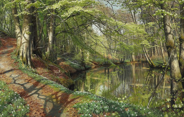 Картинка 1896, датский живописец, Петер Мёрк Мёнстед, Peder Mørk Mønsted, Danish realist painter, Весенний день в …