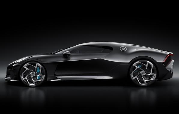 Картинка машина, Bugatti, диски, стильный, гиперкар, La Voiture Noire