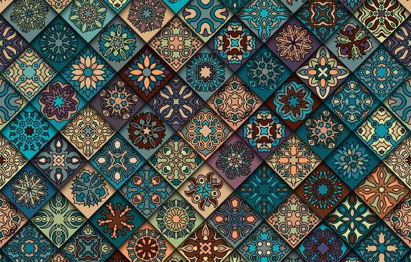 Картинка цветы, фон, узор, текстура, геометрия, орнамент, geometric