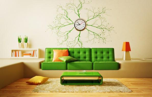 Картинка дизайн, диван, ковер, часы, интерьер, подушки, столик, модерн