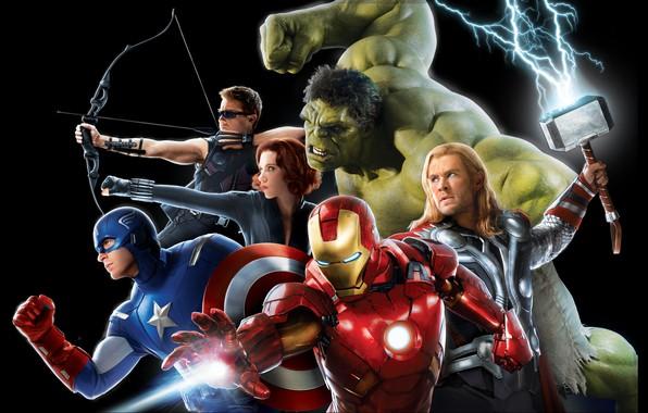 Картинка фантастика, молнии, молот, Scarlett Johansson, лук, очки, Скарлетт Йоханссон, щит, черный фон, стрелы, постер, Iron …