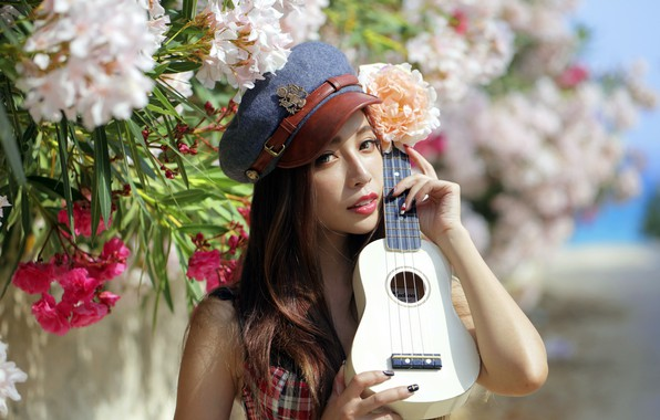 Картинка девушка, гитара, портрет, азиатка
