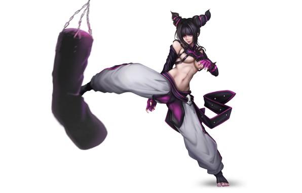 Картинка Girl, Art, Style, Illustration, Street Fighter, Minimalism, Juri, Juri Han, Punch, Figure, Punching bag, YUNG-CHI …