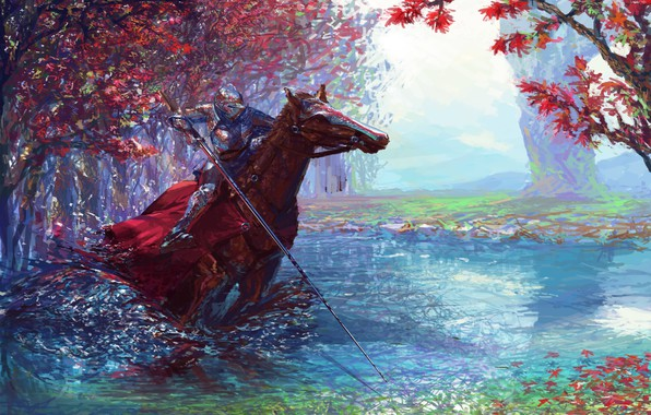 Картинка colorful, fantasy, forest, river, armor, trees, weapon, horse, digital art, artwork, warrior, fantasy art, Knight, …