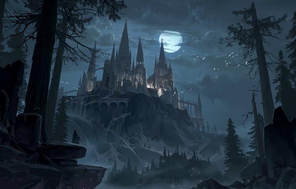 Картинка лес, небо, деревья, ночь, замок, луна, фэнтези, арт