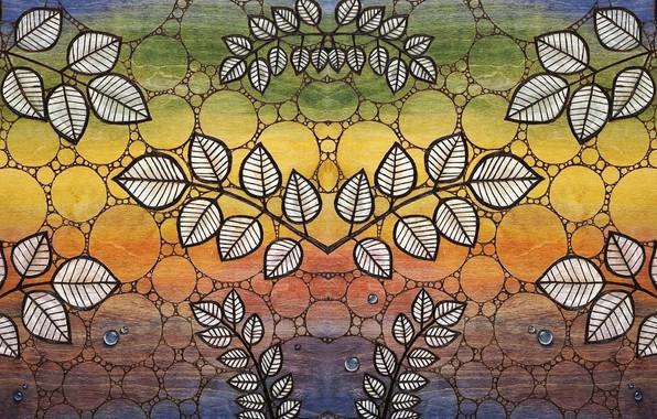 Картинка листья, дерево, текстура, акварель, акрил, пастельные тона, радужный фон, рисунок по дереву, выжженный орнамент