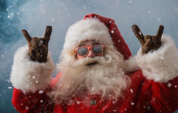 Картинка зима, снег, Новый Год, очки, Рождество, Санта Клаус, happy, Дед Мороз, Christmas, winter, snow, Merry ...