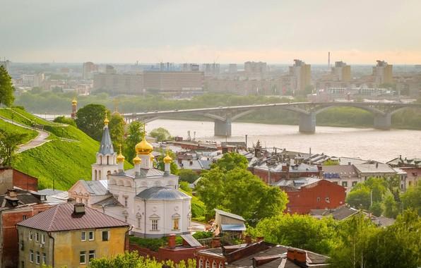 Картинка мост, природа, город, река, вид, церковь, Россия, Нижний Новгород