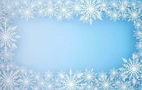 Картинка зима, снег, снежинки, фон, рамка, Christmas, blue, winter, background, snow, snowflakes, frame