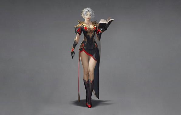 Картинка Girl, Fantasy, Beautiful, Art, Style, Minimalism, Characters, Dress, Book, Wizard, Magician, Donfoo, Project B.O