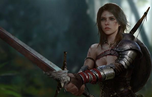 Картинка девушка, оружие, меч, доспехи, воительница, by Jun Rao