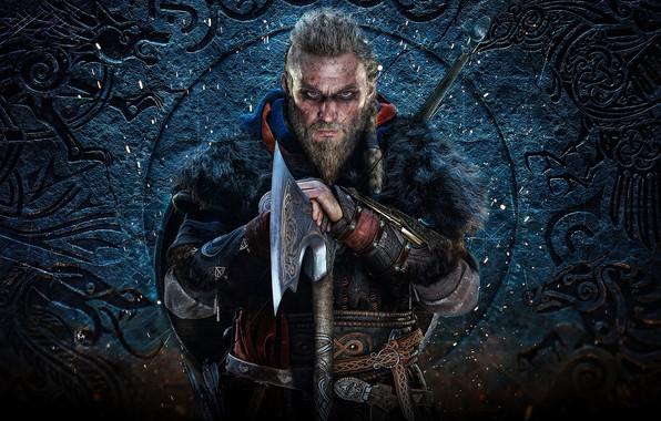 Картинка взгляд, фон, мужик, сабля, Assassin's Creed Valhalla