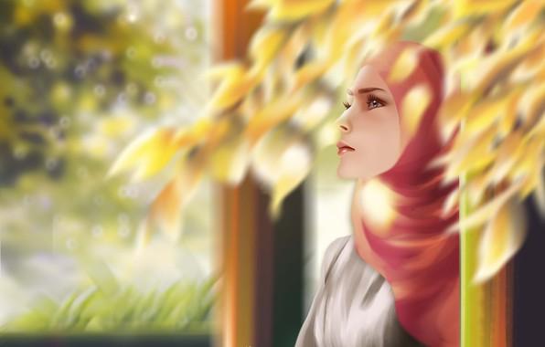 Картинка animation, girl, digital, landscape, background, painting, illustration, muslim