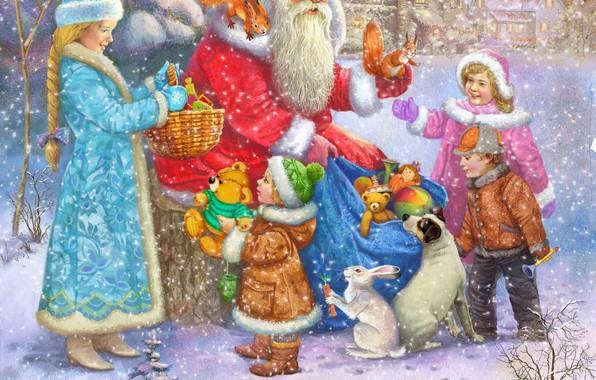 Картинка дети, собака, подарки, Снегурочка, Дед Мороз, белки, зайчата, Виталий Дударенко
