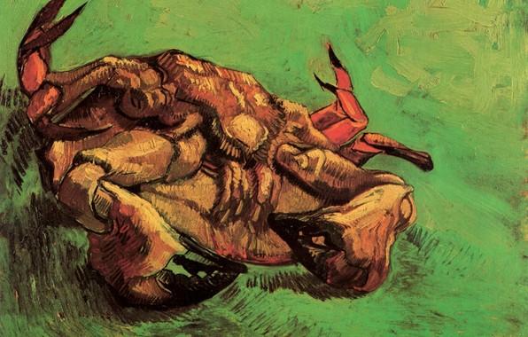 Картинка зелёный фон, Винсент ван Гог, Crab on Its Back