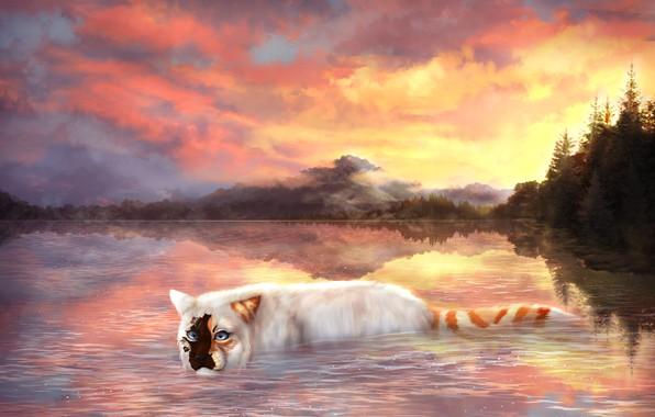 Картинка кошка, небо, вода, облака, деревья, природа, рисунки, Cryptillian