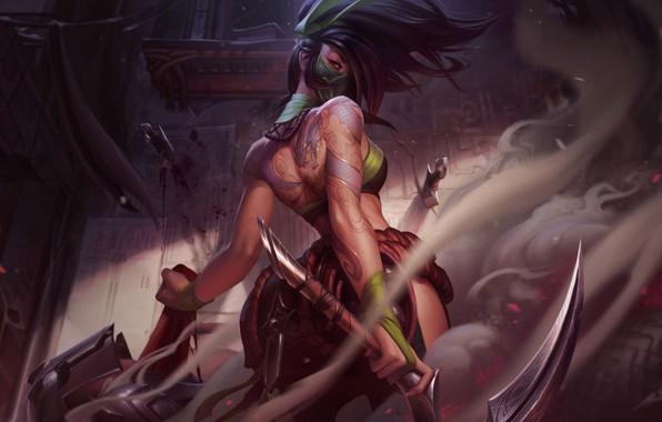 Картинка взгляд, оружие, арт, Akali, League of Legends, ирга