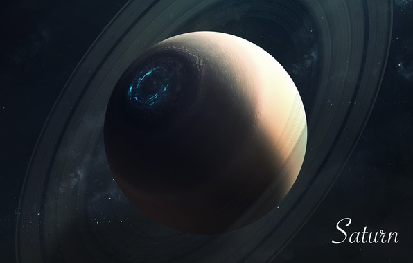Картинка Сатурн, Звезды, Планета, Космос, Saturn, Арт, Stars, Space, Art, Planet, Universe, Galaxy, Система, Science Fiction, …