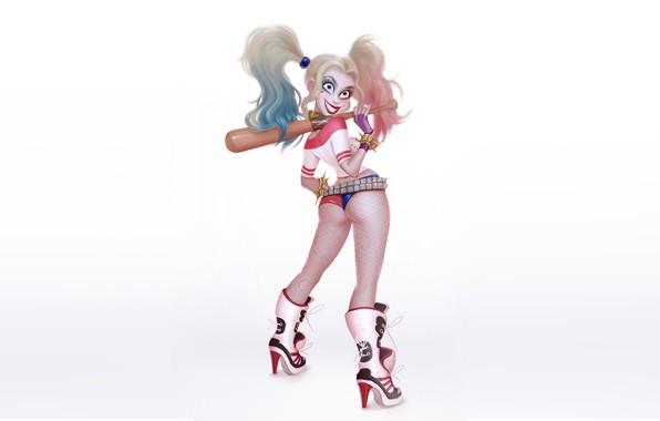 Картинка Девушка, Минимализм, Рисунок, Бита, Harley, Фон, Комикс, Арт, Харли Квинн, DC Comics, Harley Quinn, Quinn, …