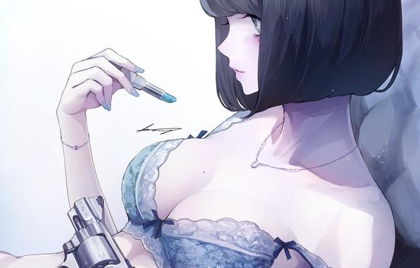 Картинка девушка, стрижка, аниме, помада, арт, профиль, револьвер