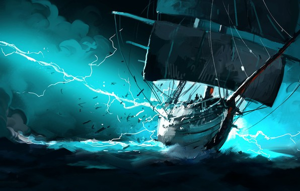 Картинка Океан, Море, Рисунок, Молния, Корабль, Шторм, Fantasy, Арт, Illustration, Concept Art, Taser, Dominik Mayer, by ...