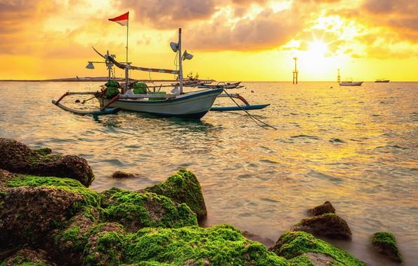 Картинка закат, берег, лодки